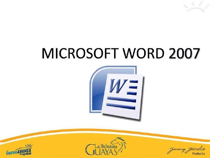 MICROSOFT WORD 2007<br />