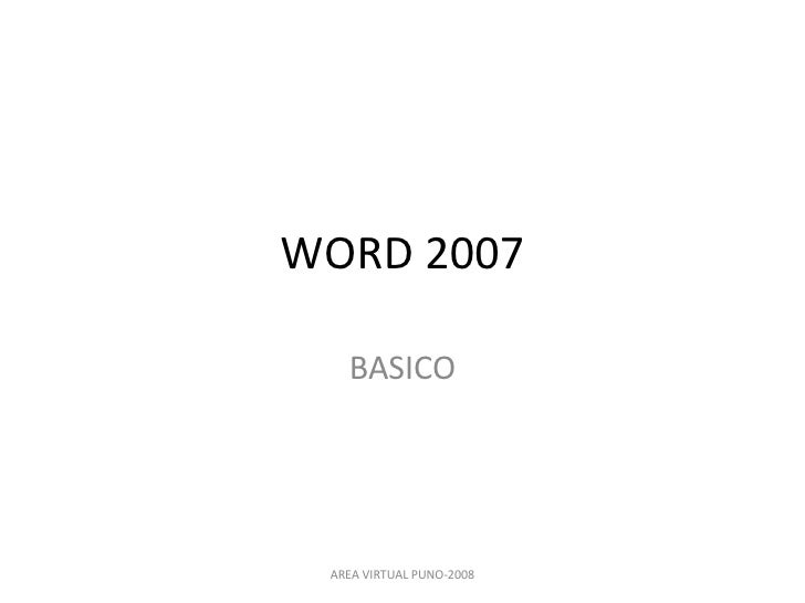 WORD 2007 BASICO AREA VIRTUAL PUNO-2008