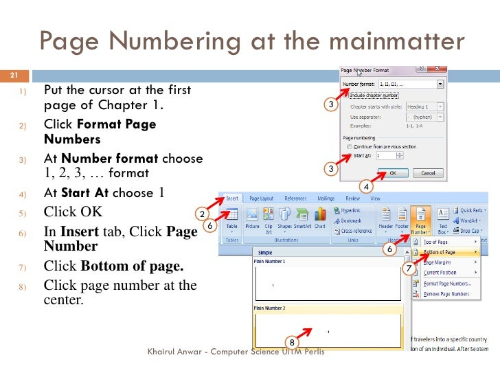 Phd thesis page numbering