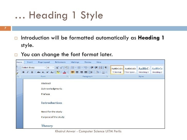 writing a thesis in word 2007