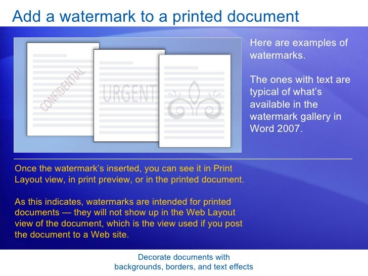Word 2007 Decorate Documents With Backgrounds Borders And Text Effe