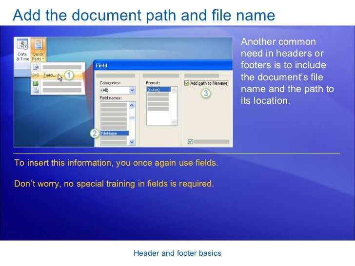 how to add document name footer word