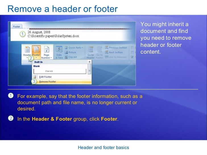 Word 2007 header and footer basics remove a header or footer toneelgroepblik Gallery