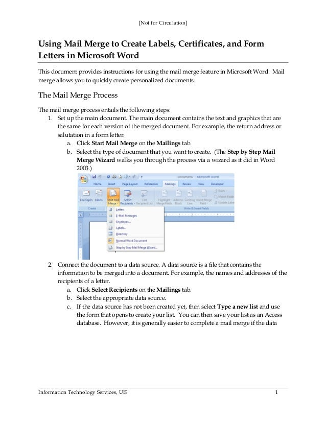 [Not for Circulation] Information Technology Services, UIS 1 Using Mail Merge to Create Labels, Certificates, and Form Let...