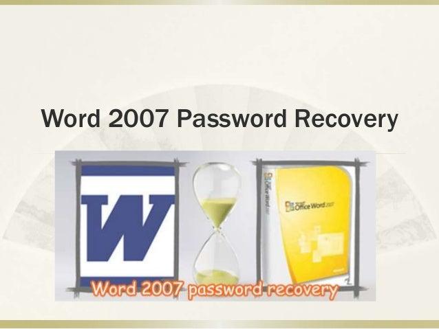 Word 2007 Password Recovery