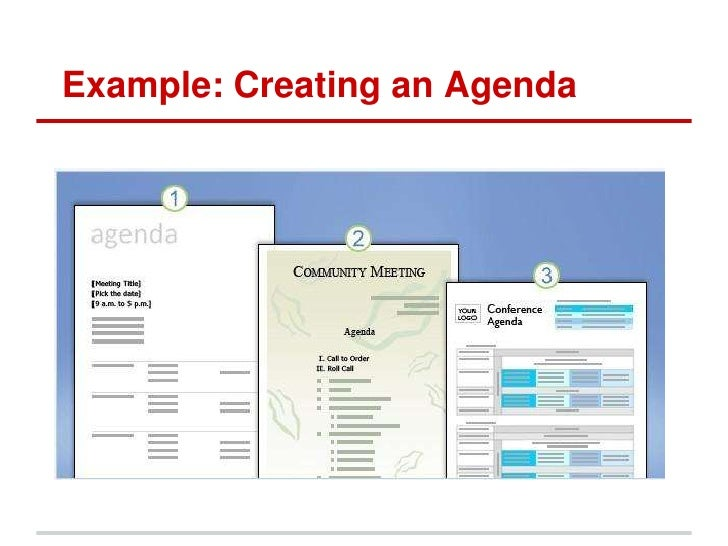 creating an agenda in word