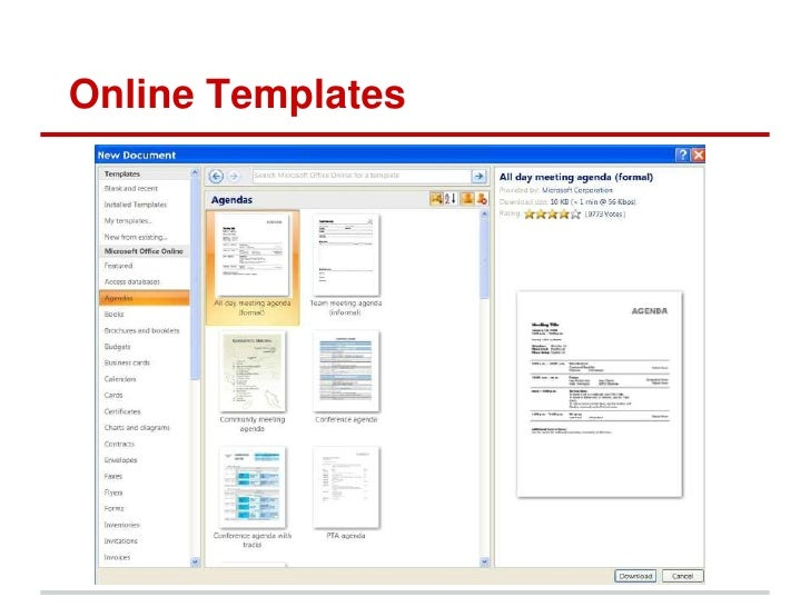 templates in word 2007