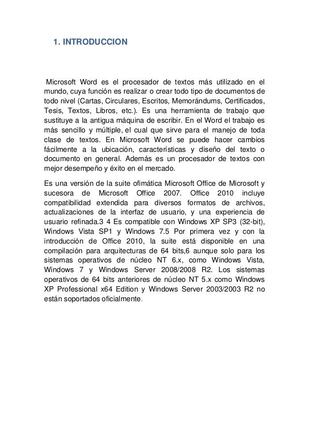 Word 2010 informe