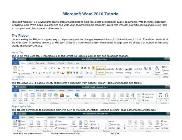 1                                               Microsoft Word 2010 TutorialMicrosoft Word 2010 is a word-processing progr...