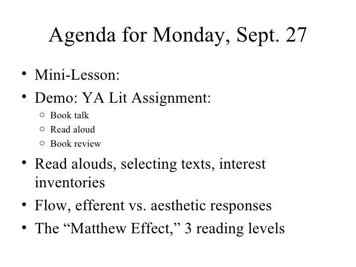 Agenda for Monday, Sept. 27 <ul><li>Mini-Lesson </li></ul><ul><li>YA Lit assignment demo </li></ul><ul><li>Read alouds, se...