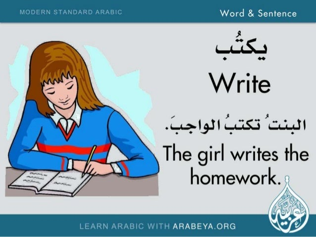 "MODERN STANDARD ARABIC word 3, sentence     ,9  ~. ~-""~5e Write . ;a, I,. iI Lass '. ;.; .., .iI  A The girl writes the ho..."