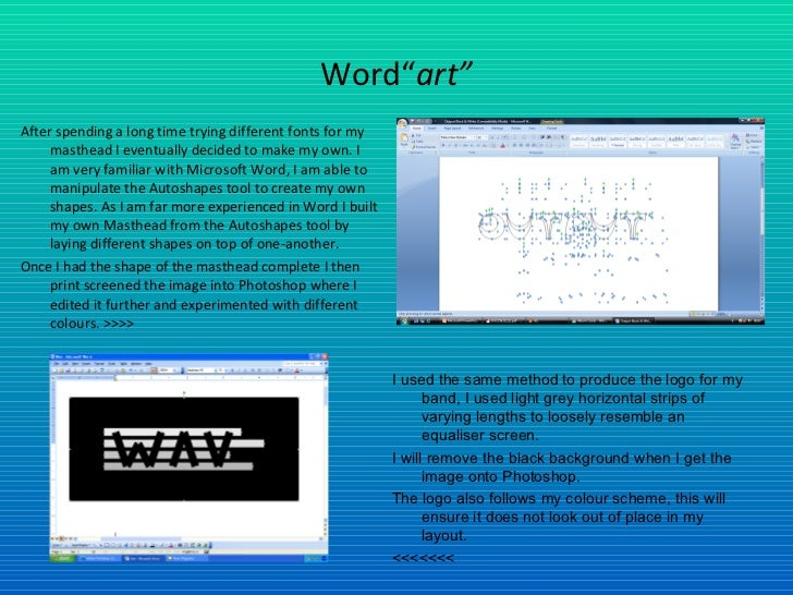 """Word"""" art"""" <ul><li>After spending a long time trying different fonts for my masthead I eventually decided to make my own. ..."""