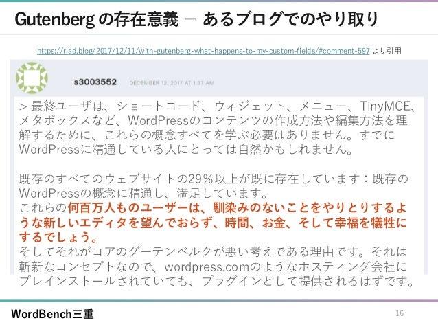 WordBench三重 Gutenbergの存在意義 - あるブログでのやり取り > 最終ユーザは、ショートコード、ウィジェット、メニュー、TinyMCE、 メタボックスなど、WordPressのコンテンツの作成方法や編集方法を理 解するために...