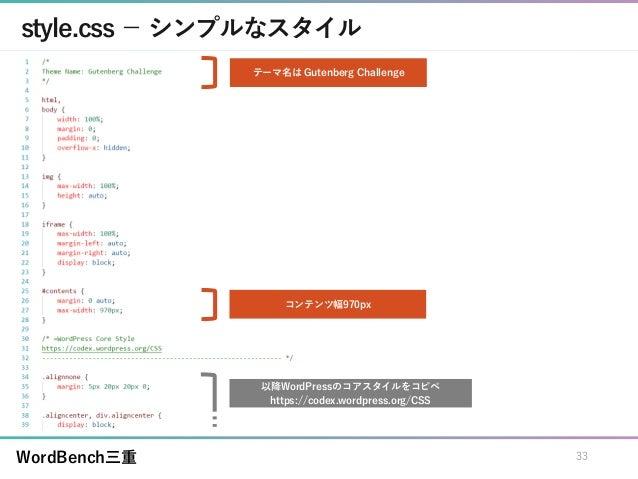 WordBench三重 style.css - シンプルなスタイル 33 コンテンツ幅970px テーマ名は Gutenberg Challenge 以降WordPressのコアスタイルをコピペ https://codex.wordpress....