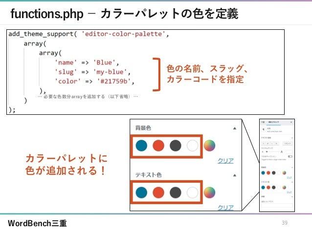 WordBench三重 functions.php - カラーパレットの色を定義 カラーパレットに 色が追加される! 39 色の名前、スラッグ、 カラーコードを指定 … 必要な色数分arrayを追加する(以下省略) …