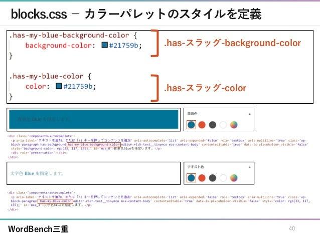 WordBench三重 blocks.css - カラーパレットのスタイルを定義 40 .has-スラッグ-background-color .has-スラッグ-color