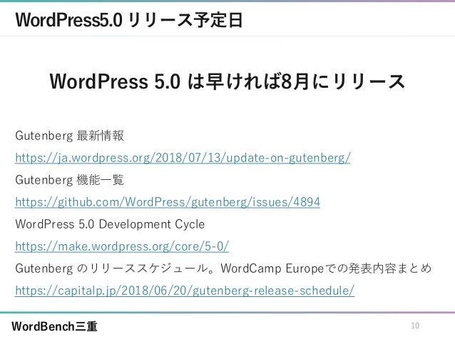WordBench三重 WordPress5.0リリース予定日 WordPress 5.0 は早ければ8月にリリース Gutenberg 最新情報 https://ja.wordpress.org/2018/07/13/update-on-gu...