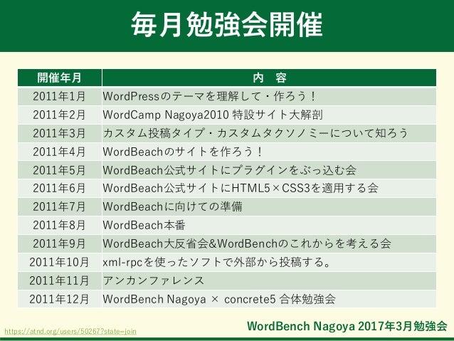 WordBench Nagoya 2017年3月勉強会 毎月勉強会開催 開催年月 内 容 2011年1月 WordPressのテーマを理解して・作ろう! 2011年2月 WordCamp Nagoya2010 特設サイト大解剖 2011年3月 ...