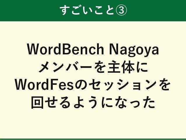 すごいこと③ WordBench Nagoya メンバーを主体に WordFesのセッションを 回せるようになった