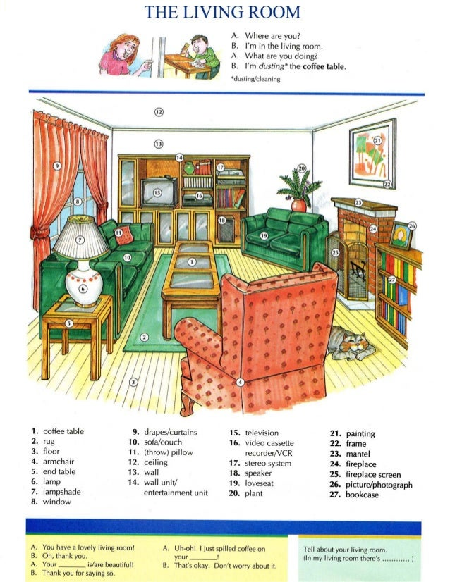 Living room vocabulary word list for Living room vocabulary