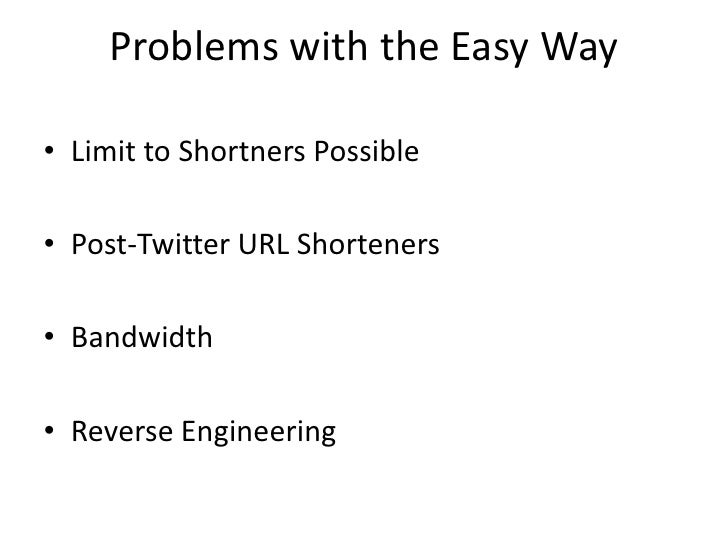 Problems with the Easy Way  • Limit to Shortners Possible  • Post-Twitter URL Shorteners  • Bandwidth  • Reverse Engineeri...