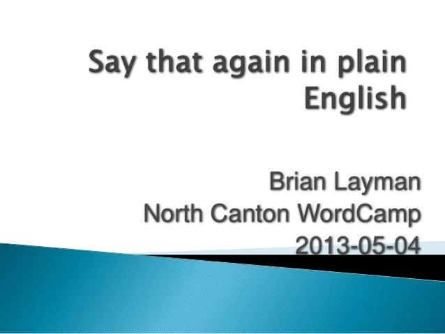 Brian Layman North Canton WordCamp 2013-05-04