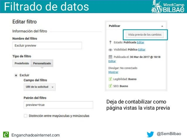 Enganchadoainternet.com @SemBilbao Filtrado de datos Deja de contabilizar como página vistas la vista previa