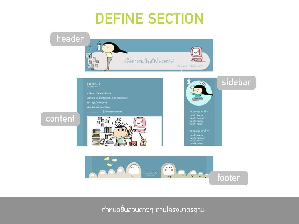 DEFINE SECTION header sidebar content
