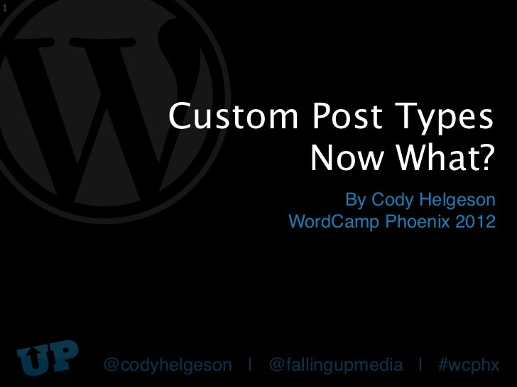 1          Custom Post Types                 Now What?                           By Cody Helgeson                      Wor...