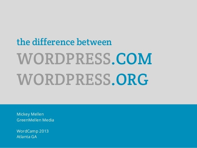 the difference betweenWORDPRESS.COMWORDPRESS.ORGMickey MellenGreenMellen MediaWordCamp 2013Atlanta GA