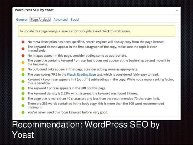 Text  Recommendation: WordPress SEO by  Yoast