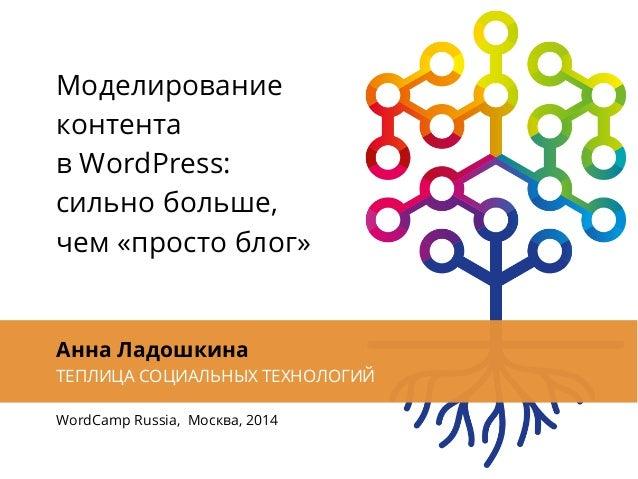 Моделирование контента в WordPress: сильно больше, чем «просто блог» Анна Ладошкина ТЕПЛИЦА СОЦИАЛЬНЫХ ТЕХНОЛОГИЙ WordCamp...