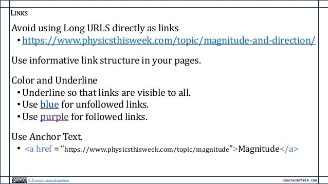 LINKS Avoid using Long URLS directly as links • https://www.physicsthisweek.com/topic/magnitude-and-direction/ Use informa...