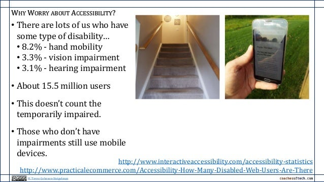 WHY WORRY ABOUT ACCESSIBILITY? • There are lots of us who have some type of disability… • 8.2% - hand mobility • 3.3% - vi...