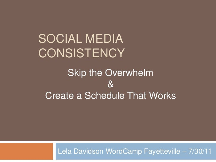 Social MEDIA Consistency<br />Lela Davidson WordCamp Fayetteville – 7/30/11<br />Skip the Overwhelm<br />&<br />Create a S...