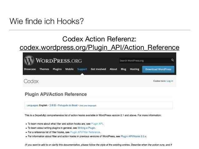 Wie finde ich Hooks? Codex Action Referenz:   codex.wordpress.org/Plugin_API/Action_Reference