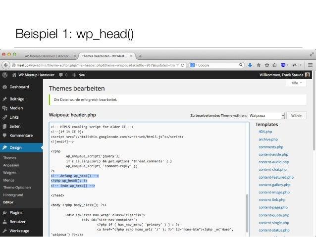 Beispiel 1: wp_head()