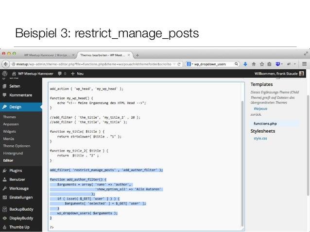 Beispiel 3: restrict_manage_posts