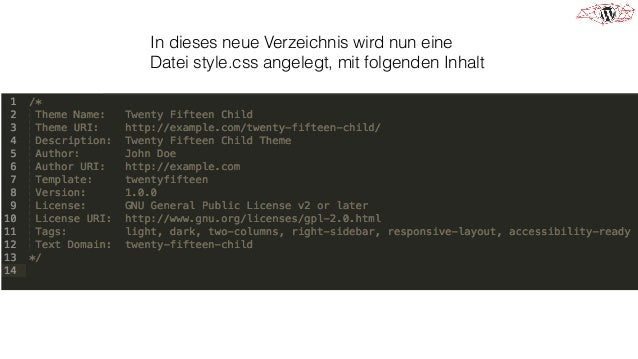 In dieses neue Verzeichnis wird nun eine Datei functions.php angelegt, mit folgenden Inhalt