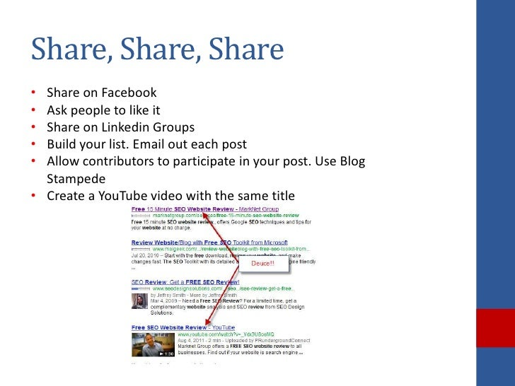 Share, Share, Share• Share on Facebook• Ask people to like it• Share on Linkedin Groups• Build your list. Email out each p...