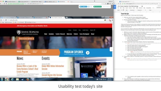 Usability test today's site