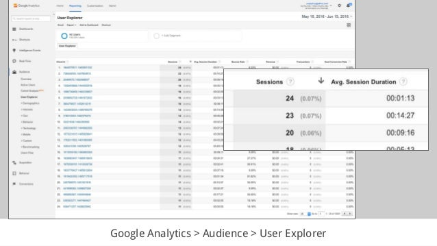 Google Analytics > Audience > User Explorer