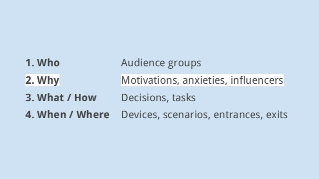 1. Who Audience groups 2. Why Motivations, anxieties, influencers 3. What / How Decisions, tasks 4. When / Where Devices, ...