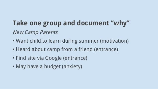 """Take one group and document """"why"""" New Camp Parents • Want child to learn during summer (motivation) • Heard about camp fro..."""