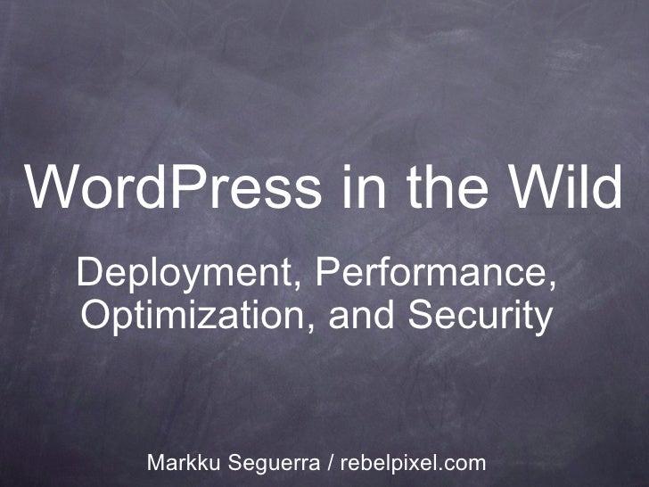 WordPress in the Wild Deployment, Performance, Optimization, and Security Markku Seguerra / rebelpixel.com