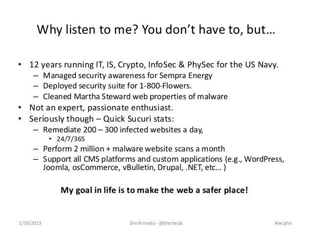 WordPress Security - WordCamp phoenix 2013   Slide 3