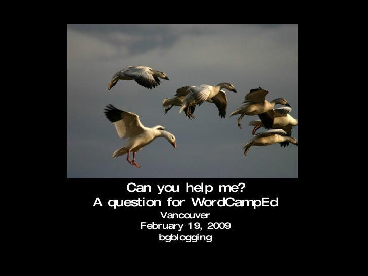 Can you help me? A question for WordCampEd Vancouver February 19, 2009 bgblogging