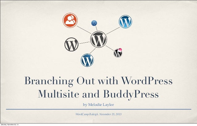 Branching Out with WordPress Multisite and BuddyPress by Melodie Laylor WordCamp Raleigh, November 23, 2013  Saturday, Nov...
