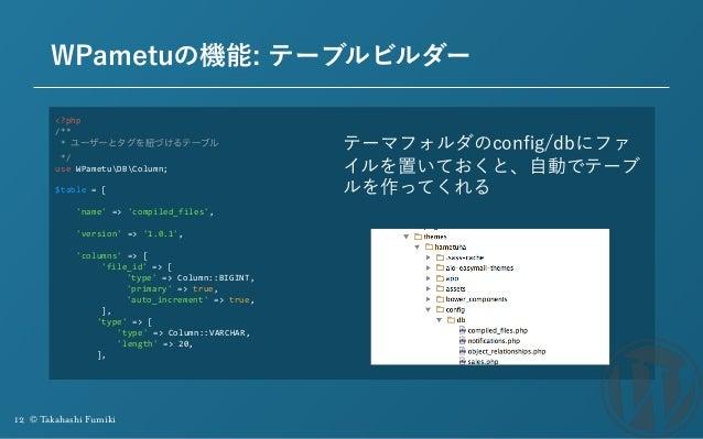 12 © Takahashi Fumiki WPametuの機能: テーブルビルダー <?php /** *ユーザーとタグを紐づけるテーブル */ useWPametuDBColumn;  $table=[  ...