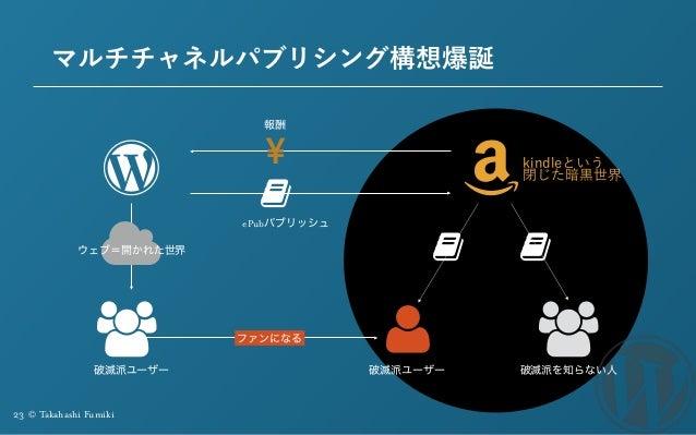 23 © Takahashi Fumiki マルチチャネルパブリシング構想爆誕 Ɓ ɉ ウェブ=開かれた世界 破滅派ユーザー 破滅派ユーザー ファンになる ePubパブリッシュ 報酬 破滅派を知らない人 kindleという 閉じた暗黒世界